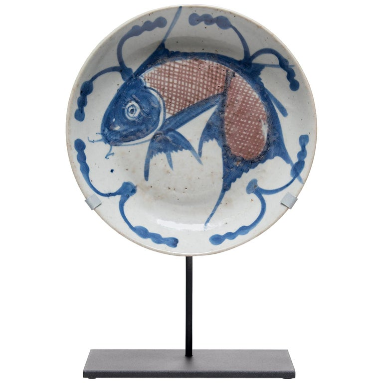 Chinese Blue and White Fish Plate, circa 1850 For Sale