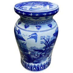 Chinese Blue and White Garden Stool