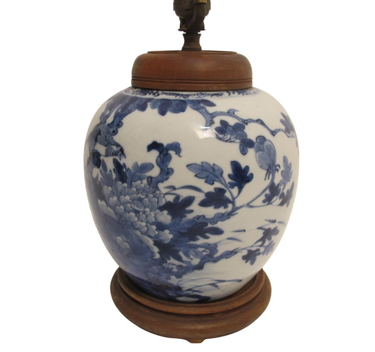 Hand-Painted Chinese Blue and White Ginger Jar Lamp, 19th Century For Sale