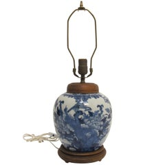 Chinese Blue and White Ginger Jar Lamp, 19th Century