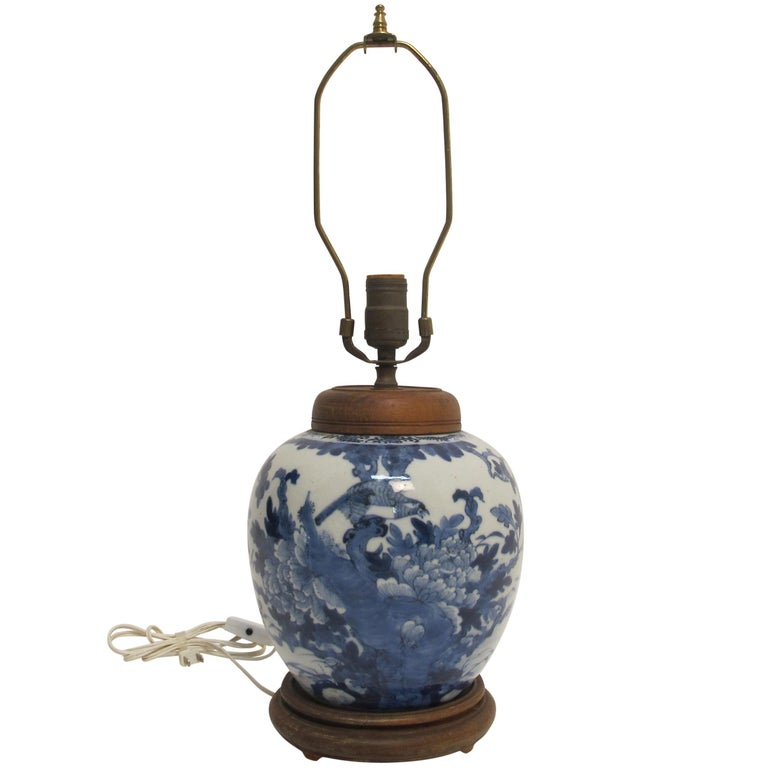 Chinese Blue and White Ginger Jar Lamp, 19th Century For Sale