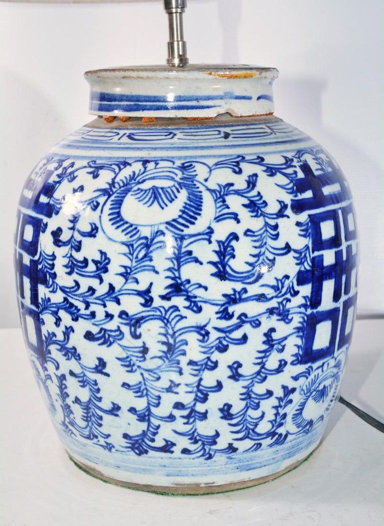 Chinese Blue And White Ginger Jar Lamp For Sale At 1stdibs