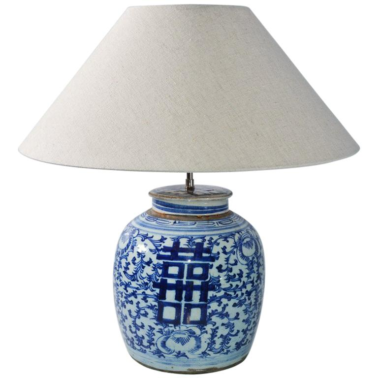 Chinese Blue And White Ginger Jar Lamp, Blue And White Ginger Jar Lamps Uk