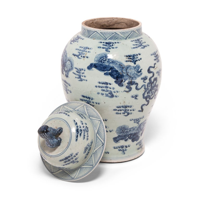 Contemporary Chinese Blue and White Ginger Jar with Fu Dogs For Sale