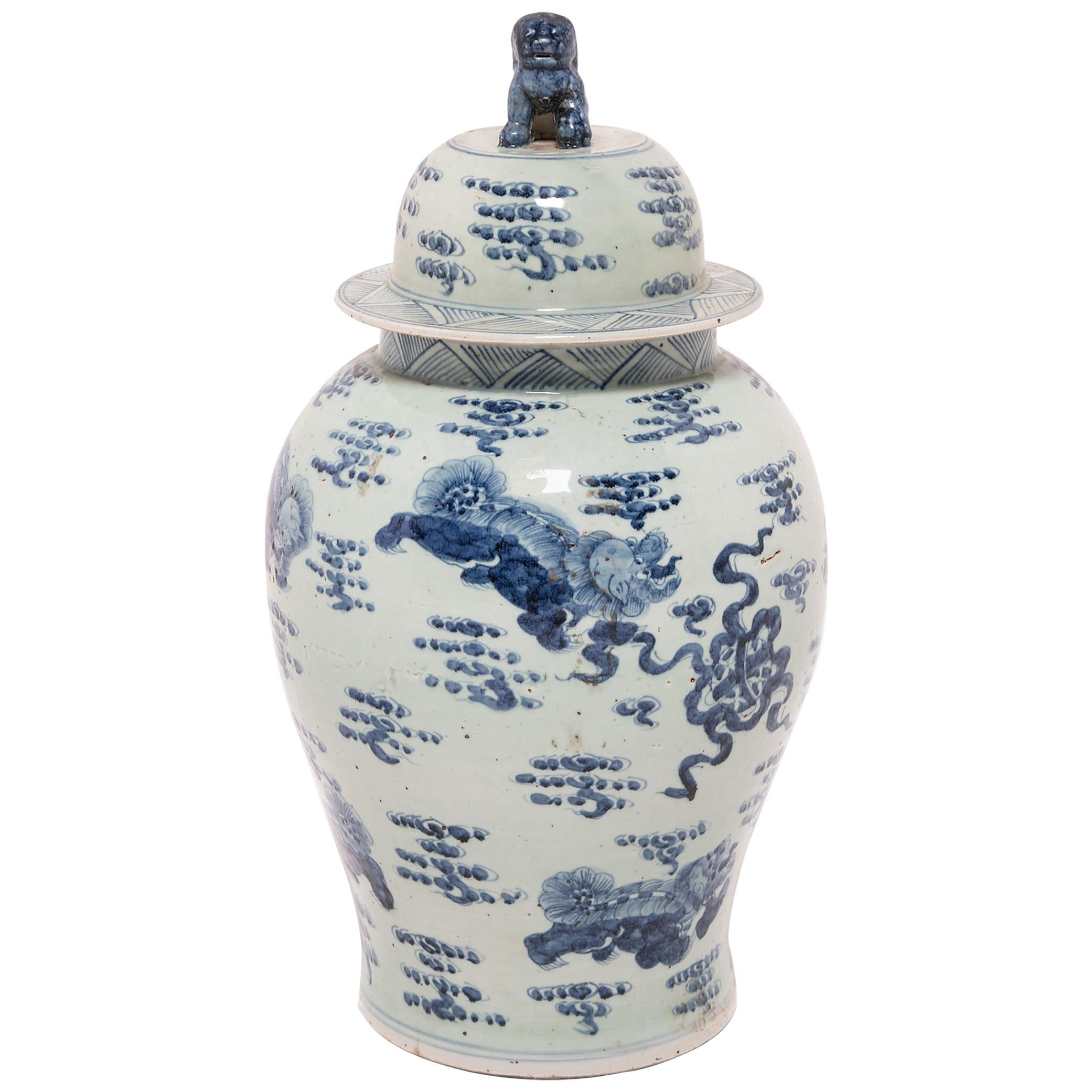 Chinese Blue and White Ginger Jar with Fu Dogs