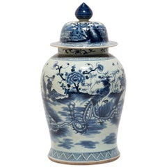 Chinese Blue and White Ginger Jar with Phoenix and Peonies