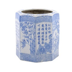 Chinese Blue and White Hexagonal Porcelain Vase with Hand-Painted Foliage Décor