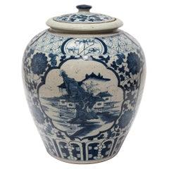 Chinese Blue and White Landscape Tea Leaf Jar