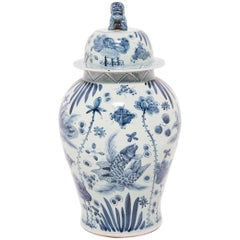 Chinese Blue and White Mei Ping Jar with Fu Dog Lid