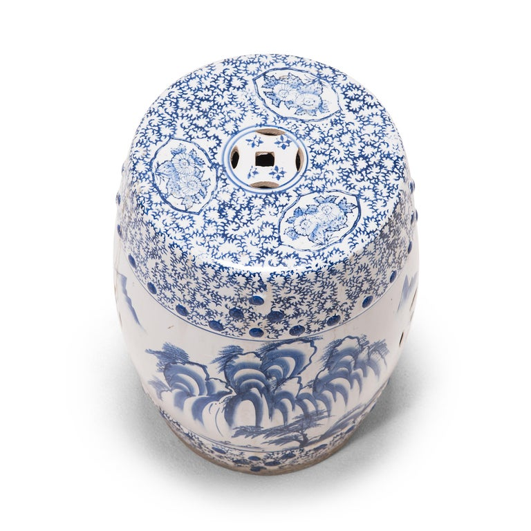 20th Century Chinese Blue and White Minggua Garden Seat For Sale