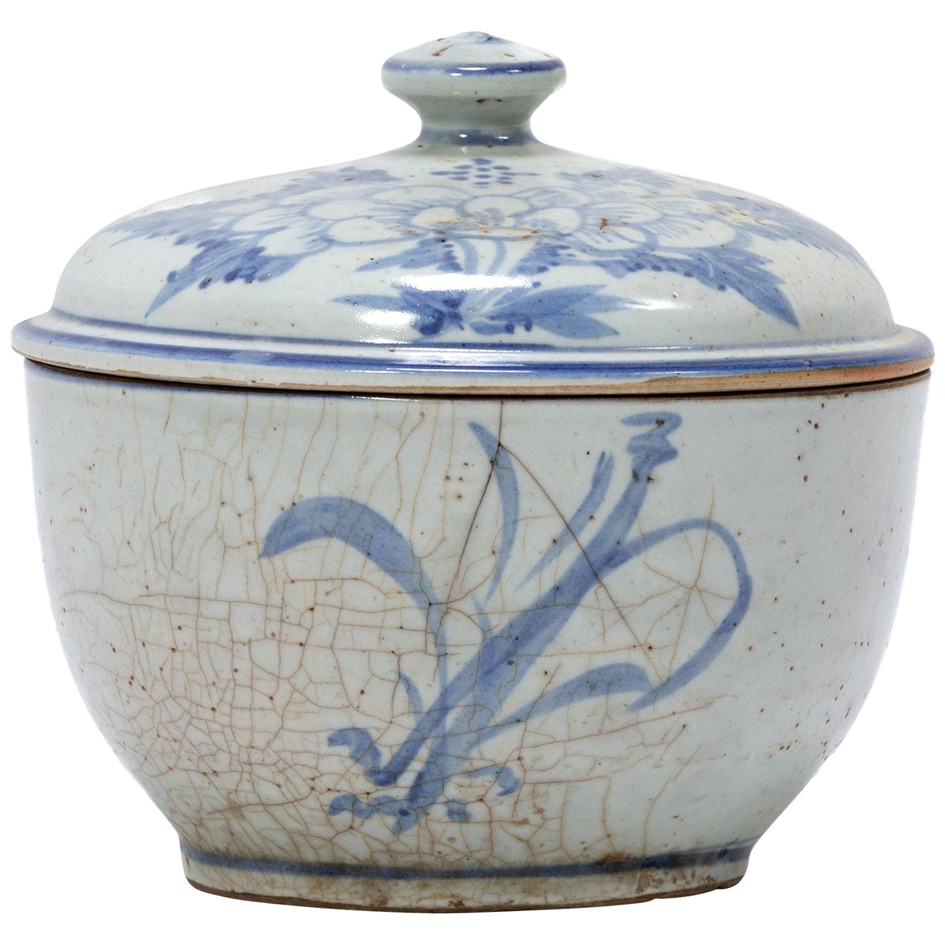 Chinese Blue and White Peony Congee Pot, circa 1900