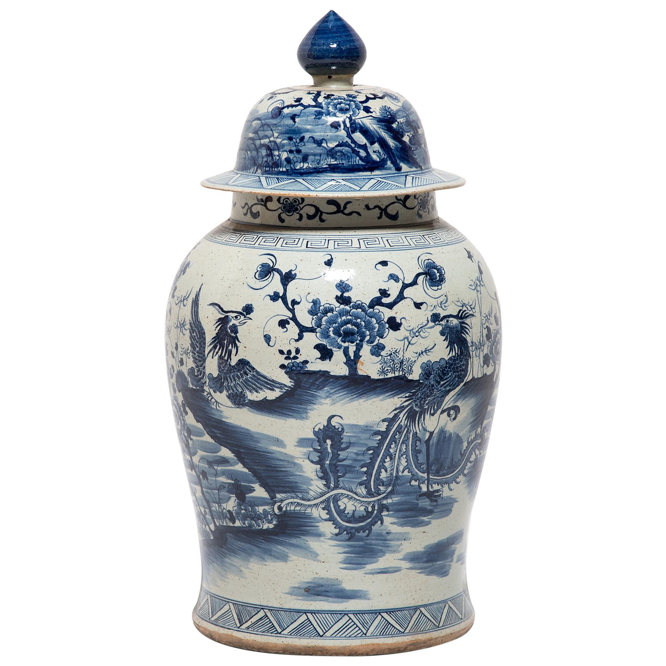 Chinese Blue and White Phoenix Ginger Jar