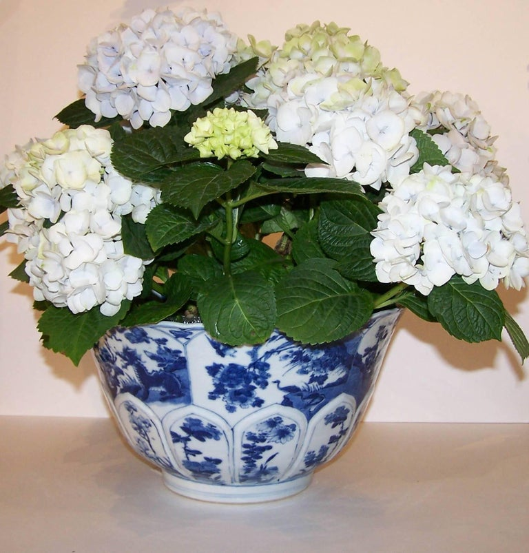 Hand-Painted Chinese Blue and White Porcelain Bowl Antique  For Sale