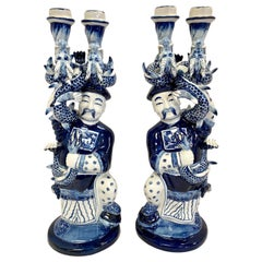 Chinese Blue and White Porcelain Figural Serpentine Candleholders