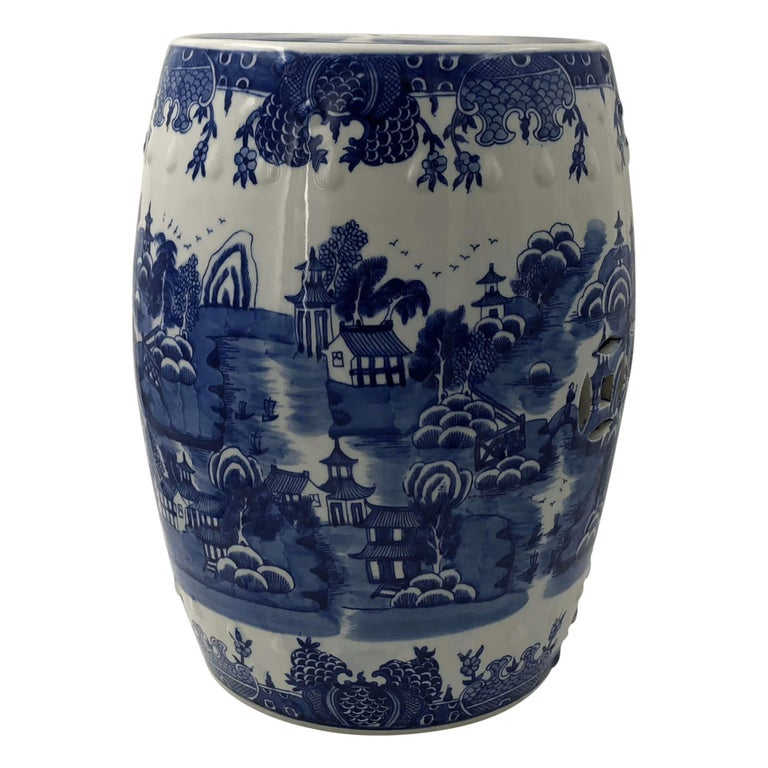 Chinese Blue And White Porcelain Garden Stool At 1stdibs