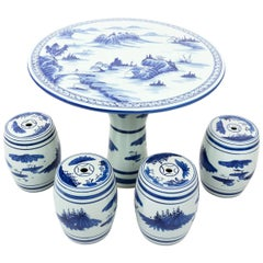 Chinese Blue and White Porcelain Garden Table with Flour Stools