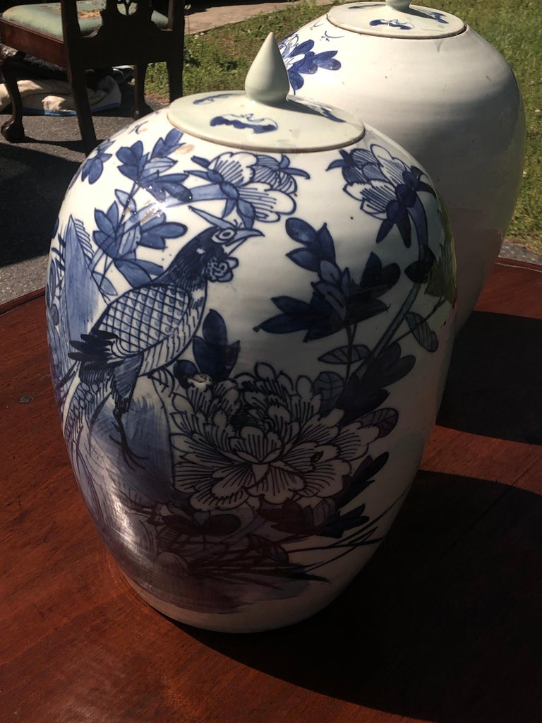 Brushed Chinese Blue and White Porcelain Ginger Jar High with Lid, Late 12th Century For Sale