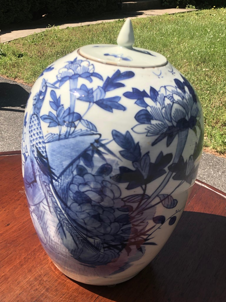 Chinese Blue and White Porcelain Ginger Jar High with Lid, Late 12th Century In Good Condition For Sale In Allentown, PA