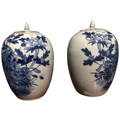 Chinese Blue and White Porcelain Ginger Jar High with Lid, Late 12th Century