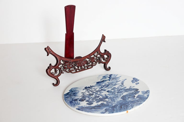 Chinese Blue and White Porcelain Plaque with a Carved Wooden Stand For Sale 6