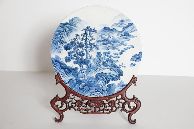 Chinese Blue and White Porcelain Plaque with a Carved Wooden Stand For Sale 2
