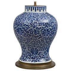 Chinese Blue and White Porcelain Vase Lamp, circa 1880