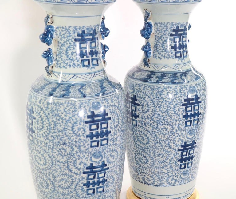 Chinese Blue and White Porcelain Vase Table Lamps For Sale 7