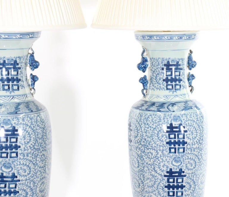 Chinese Blue and White Porcelain Vase Table Lamps For Sale 8