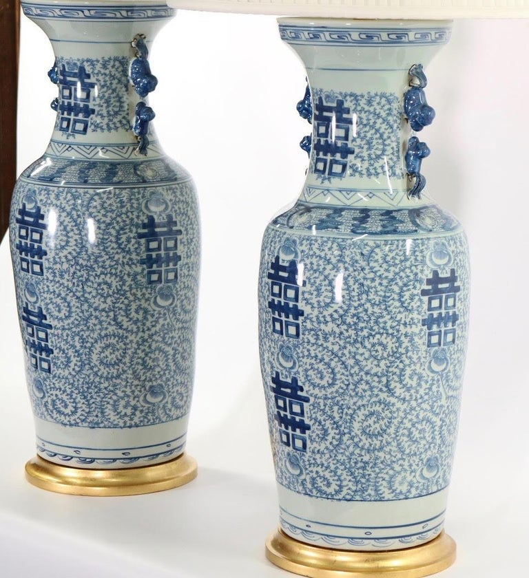 Chinese Blue and White Porcelain Vase Table Lamps In Good Condition For Sale In New York, NY