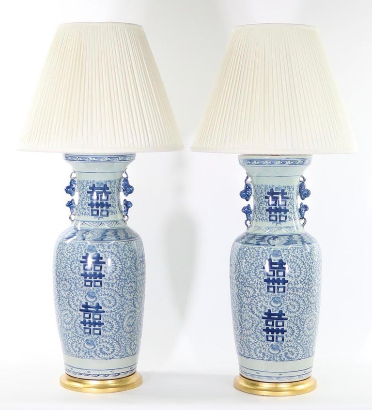 Chinese Blue and White Porcelain Vase Table Lamps For Sale 1