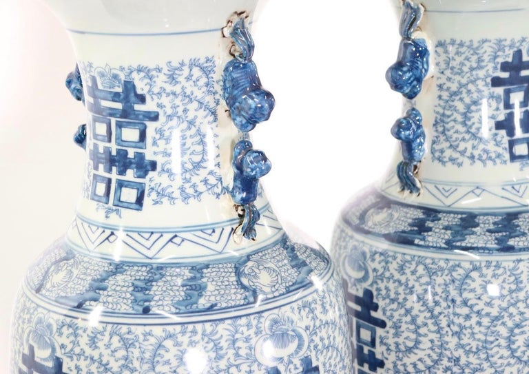 Chinese Blue and White Porcelain Vase Table Lamps For Sale 3