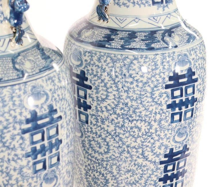 Chinese Blue and White Porcelain Vase Table Lamps For Sale 4