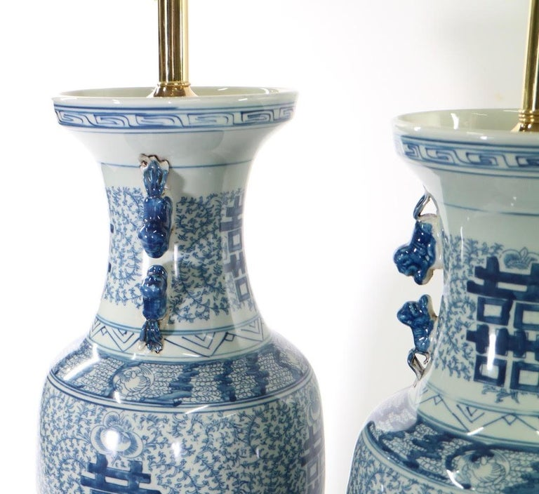 Chinese Blue and White Porcelain Vase Table Lamps For Sale 5