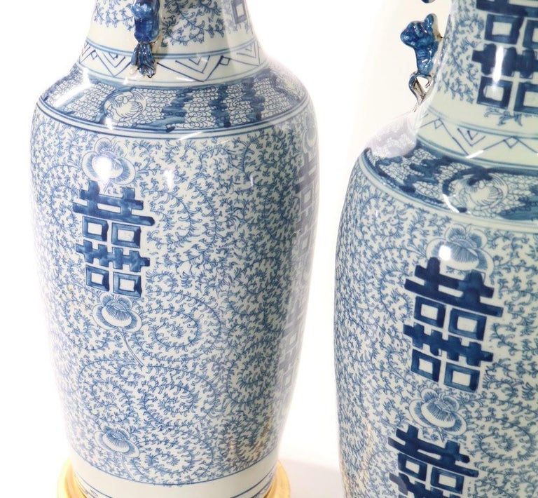 Chinese Blue and White Porcelain Vase Table Lamps For Sale 6