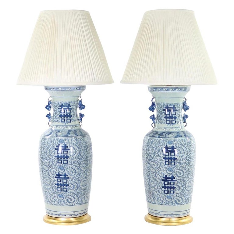 Chinese Blue and White Porcelain Vase Table Lamps For Sale