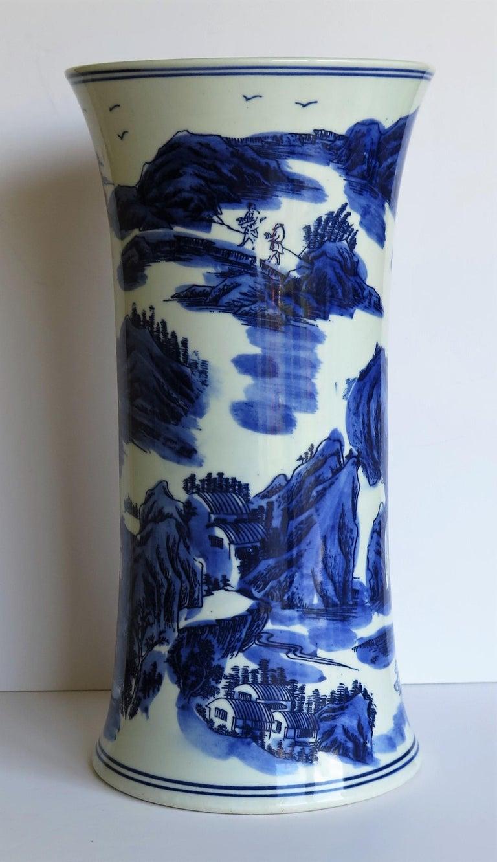 Chinese Blue And White Porcelain Beaker Vase With Six