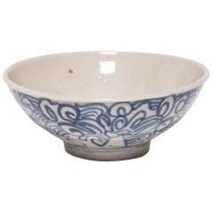 Chinese Blue and White Rice Bowl, circa 1900