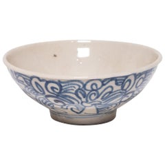 Chinese Blue and White Rice Bowl, circa 1900