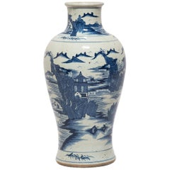 Chinese Blue and White Shan Shui Vase