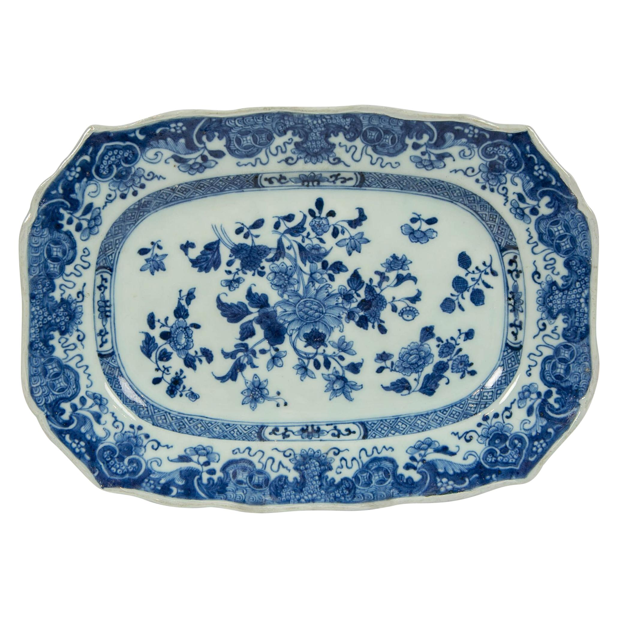 Chinese Blue and White Small Platter Made circa 1770 during the Qianlong Period