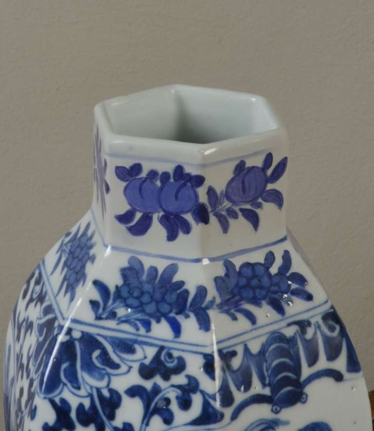 Porcelain Chinese Blue and White Vase For Sale