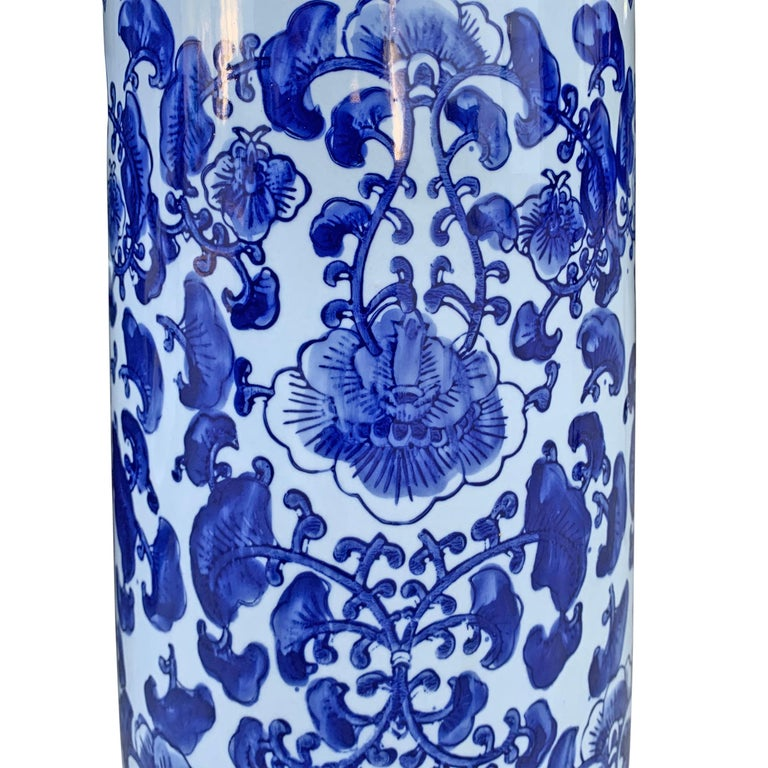 Porcelain Chinese Blue and White Vase or Umbrella Stand For Sale