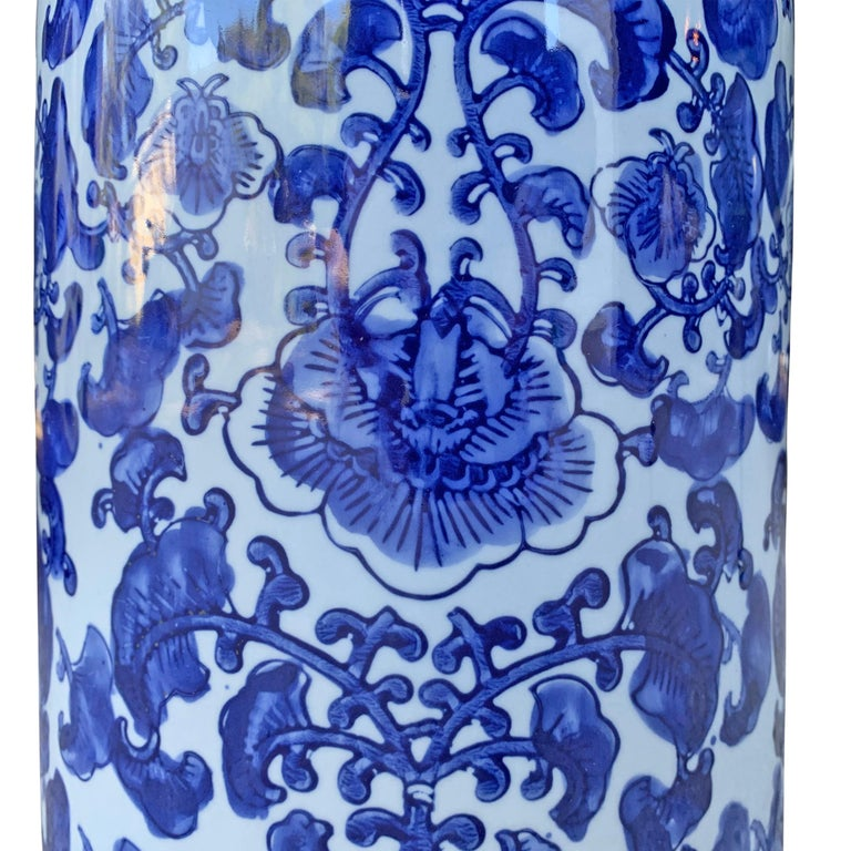 Chinese Blue and White Vase or Umbrella Stand For Sale 1