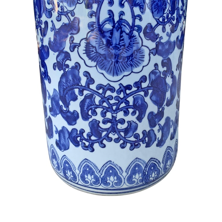 Chinese Blue and White Vase or Umbrella Stand For Sale 2