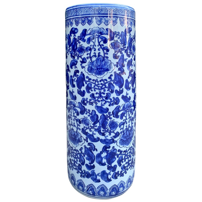 Chinese Blue and White Vase or Umbrella Stand For Sale