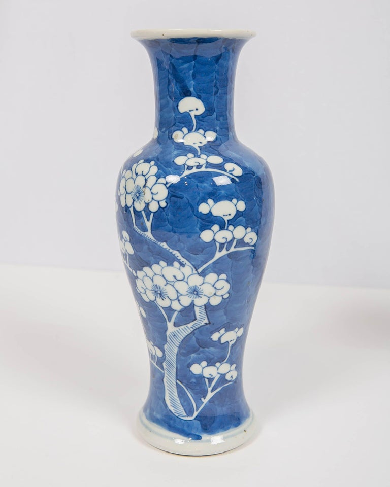 Qing Chinese Blue and White Vases Decorated with Flowering Plum Trees Made circa 1880 For Sale