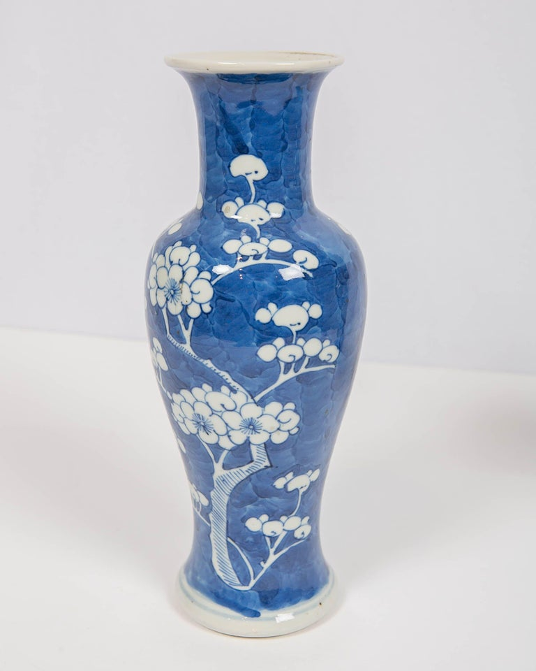 Hand-Painted Chinese Blue and White Vases Decorated with Flowering Plum Trees Made circa 1880 For Sale