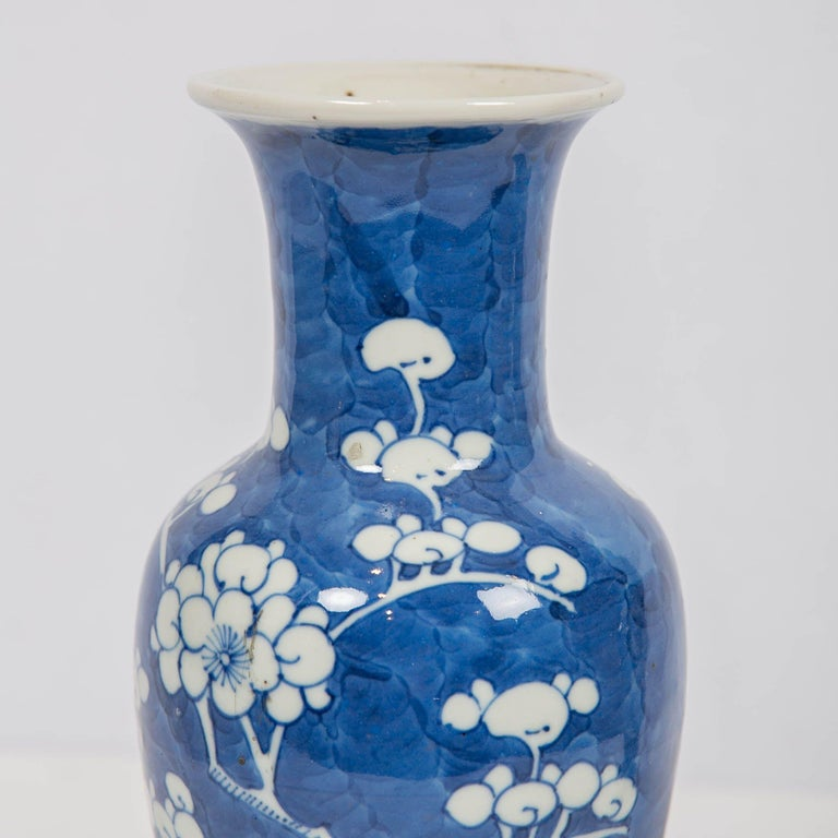 Chinese Blue and White Vases Decorated with Flowering Plum Trees Made circa 1880 In Excellent Condition For Sale In New York, NY