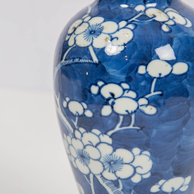 19th Century Chinese Blue and White Vases Decorated with Flowering Plum Trees Made circa 1880 For Sale