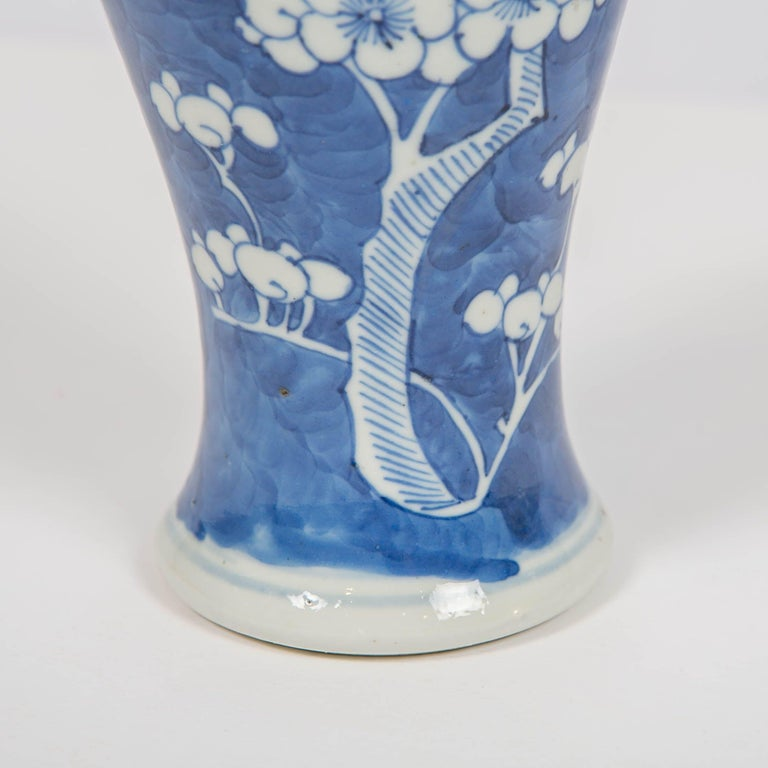 Porcelain Chinese Blue and White Vases Decorated with Flowering Plum Trees Made circa 1880 For Sale